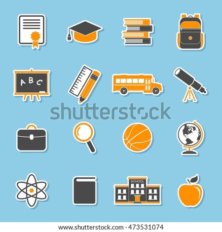 School icons stickers isolated on blue background. Education collection. Back to school. College training symbols in flat style