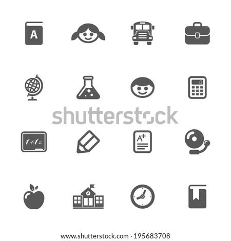School icons, vector. - stock vector