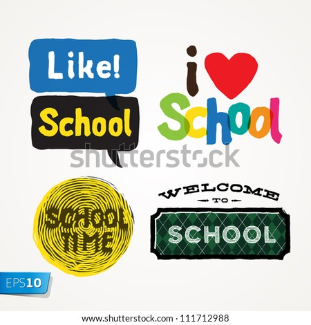 School Icons, vector Eps10 illustration. - stock vector