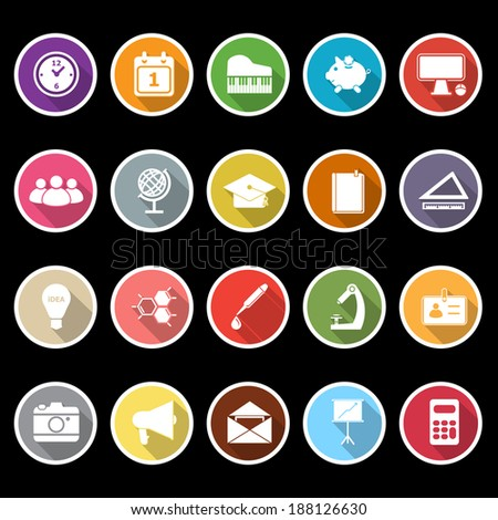 School icons with long shadow, stock vector