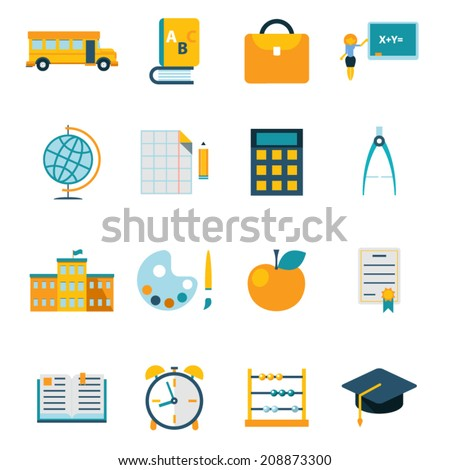 School isolated icons set  modern trendy flat vector illustration - stock vector