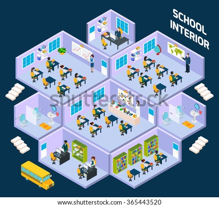 School isometric interior with classroom indoors full of students and teachers vector illustration - stock vector