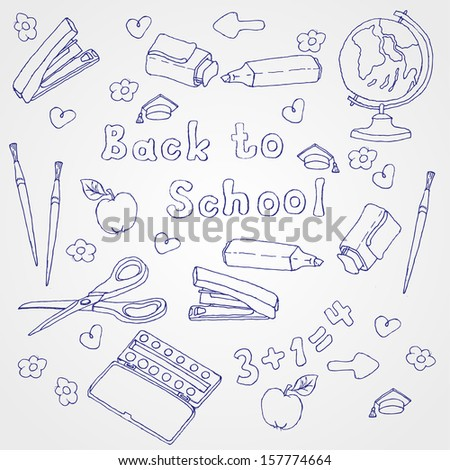 School items, freehand drawing . Back to School. Vector illustration. Set