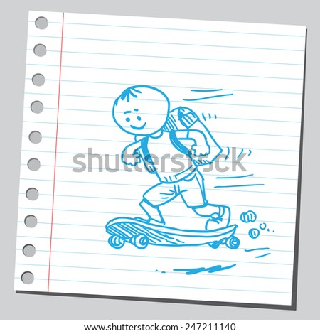 School kid on skateboard - stock vector