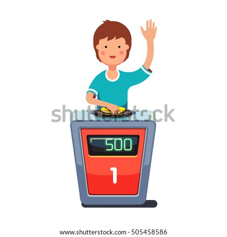 School Kid Playing Quiz Game Answering Question Standing At The Stand With Button Boy Pressed