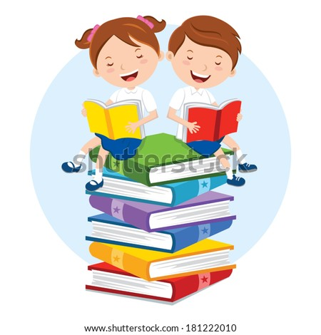 School kids reading for pleasure. Children sitting on multicolor books, they are enjoying reading.  - stock vector