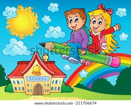 School kids theme image 7 - eps10 vector illustration. - stock vector