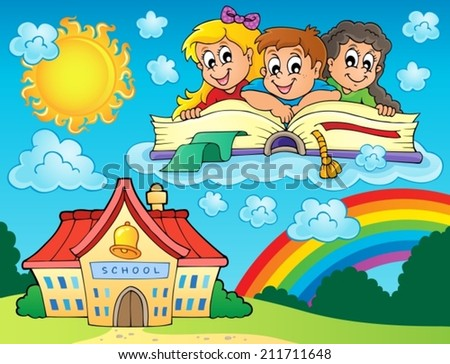 School kids theme image 8 - eps10 vector illustration. - stock vector