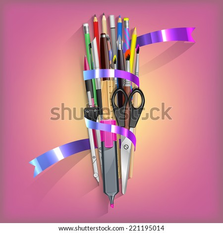 School Kit with isolated office objects in vector - stock vector