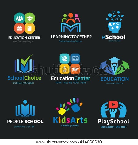 school logo set education logo collection kids learning logovector logo template