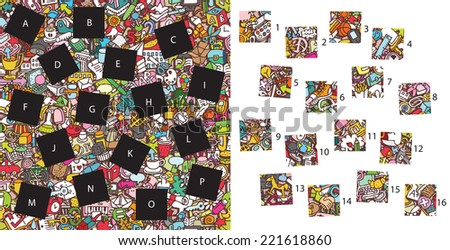 School: Match pieces, visual game. Solution in hidden layer! Illustration is in eps8 vector mode! Each elements are isolated and on separate layers. - stock vector