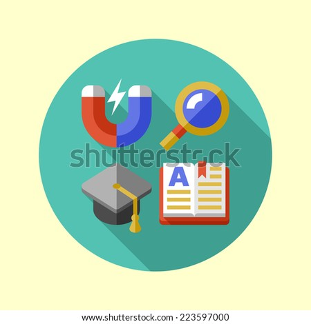 School mini icon set. Long shadow flat design. Vector illustration. - stock vector