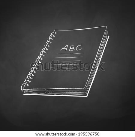 School notebook. Chalkboard drawing. Vector illustration. - stock vector