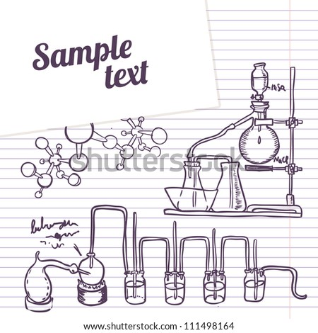 School notebook  chemistry laboratory vector background in vintage style - stock vector