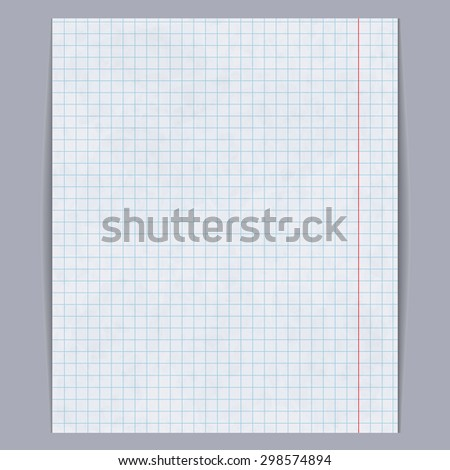 School notebook paper background, vector illustration - stock vector