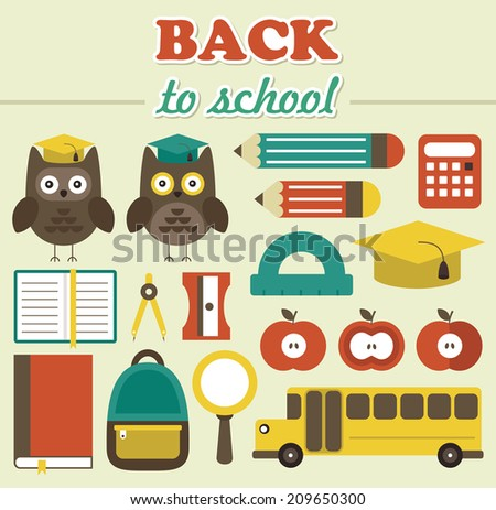 school objects set.vector illustration - stock vector