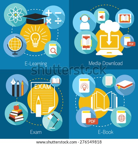 School Online, E-Learning, E-Book, Exam, Icons and Concept, Education & Study - stock vector