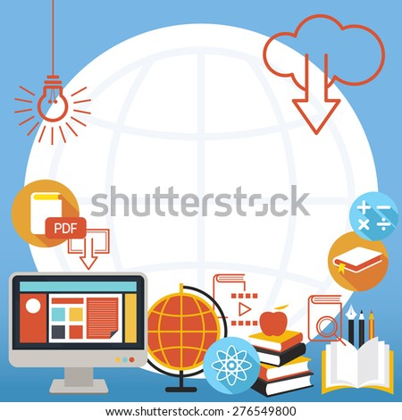 School Online E-Learning Objects Background and Frame, Education, E-Book, Study - stock vector