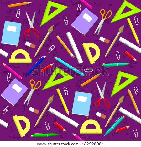 School pattern. Background with school objects. Vector School Illustration