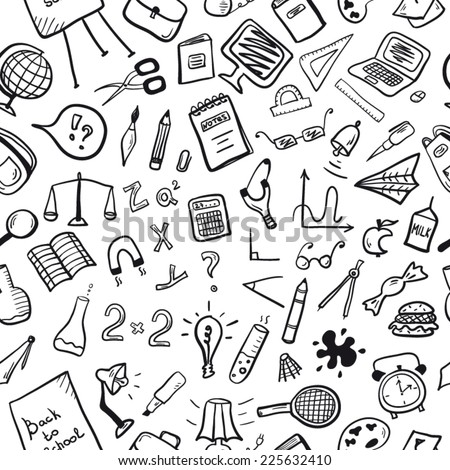 School pattern black and white - stock vector