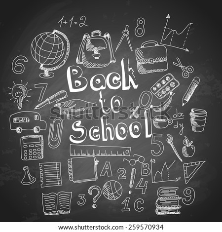 School pattern on black chalkboard background with back to school inscription, vector illustration