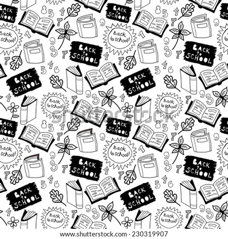 School pattern with elements. Black and white background with icons of the school. Seamless. The leaves of the tree, notebook, numbers, notepad printing.