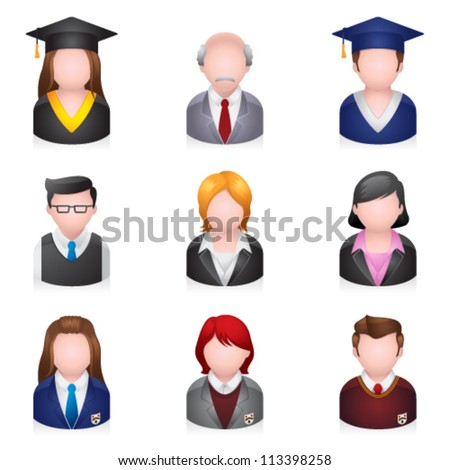 School people icons. Transparent shadow placed on separate layer - stock vector