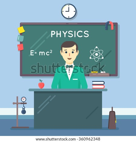 School physics teacher in audience. Class lesson, blackboard and college, knowledge learning in classroom. Vector illustration flat education concept - stock vector