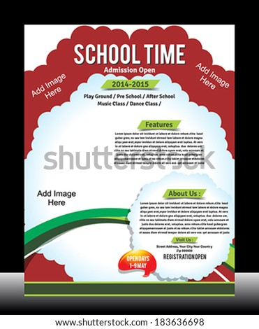 School Promotion Flyer Template Vector illustration - stock vector