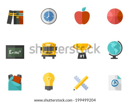 School related items icon series in flat colors style. - stock vector
