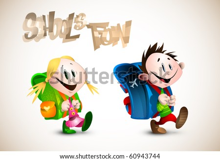 School's Fun | Detailed Illustration of two young happy child going to school | EPS10 Vector | All layers named accordingly - stock vector