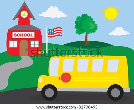 School Scene with School Bus - stock vector