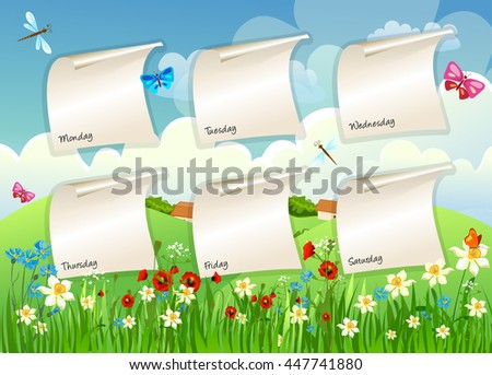 School schedule on the background of summer meadows - stock vector