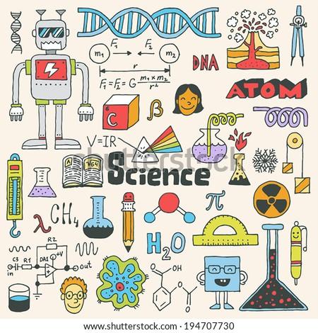 School science doodle set 2. Hand drawn vector illustration. - stock vector