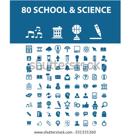 school, science icons - stock vector