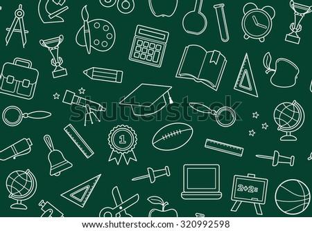 School seamless background on a blackboard - stock vector