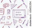 School seamless pattern in the notebook doodle - stock vector