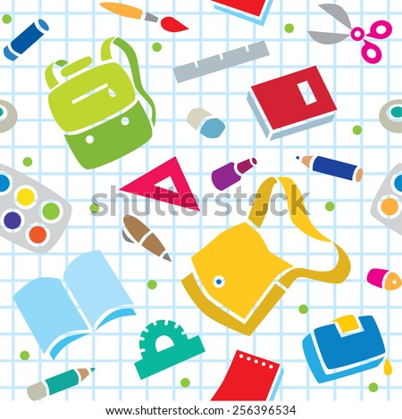 School seamless pattern of education equipment, bag and book, copybook and diary and ruler, pen and pencil, pencil box and glue and eraser.