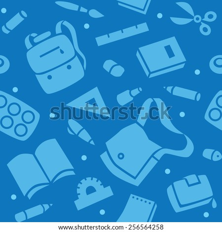 School seamless pattern of education equipment, bag and book, copybook and diary and ruler, pen and pencil, pencil box and glue and eraser. - stock vector