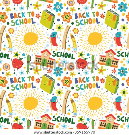 School seamless pattern of education equipment: pencils, pens, books, rulers, erasers.  - stock vector