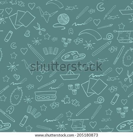 School seamless pattern. Vector elements of creativity