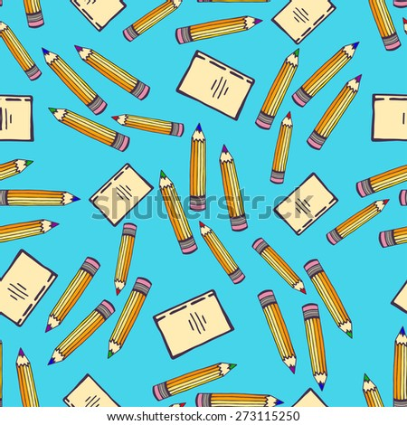 School seamless pattern with pencil and sketch notebook on blue background. Education vector - stock vector