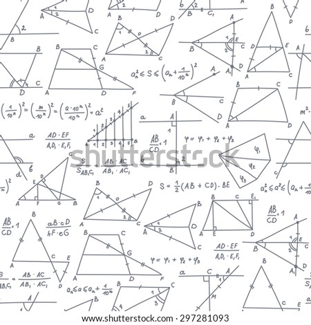 School seamless vector doodle pattern with different mathematical formulas, s��hemes and values. Good background for school printed supplies, stationery, other education stuff.