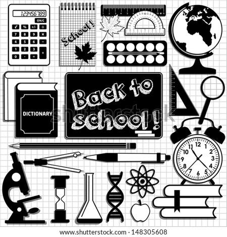 School set background. Design element. - stock vector