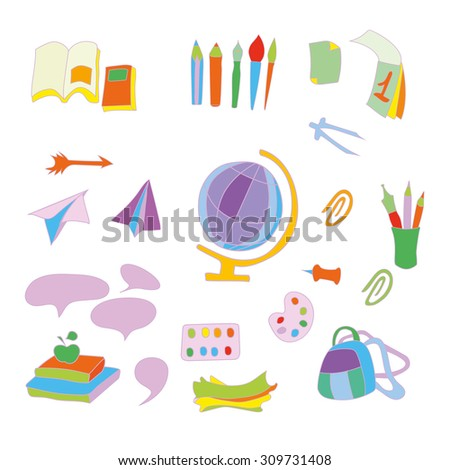 School set of vector objects. Various colorful school supplies.