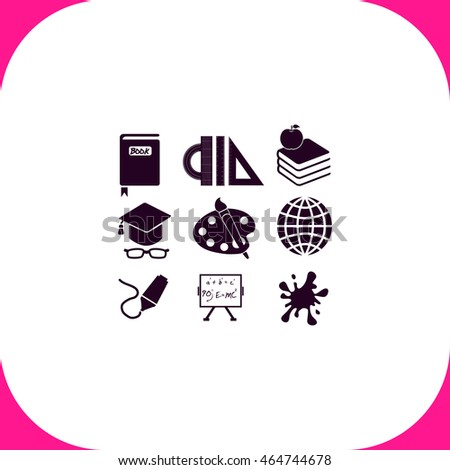 School Set vector icon on white background.