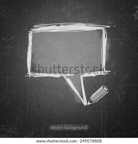 school sketches bubble on blackboard, vector background - stock vector