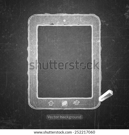 school sketches computer on blackboard, vector background - stock vector