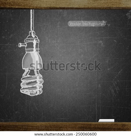 school sketches lamp on blackboard, vector background - stock vector