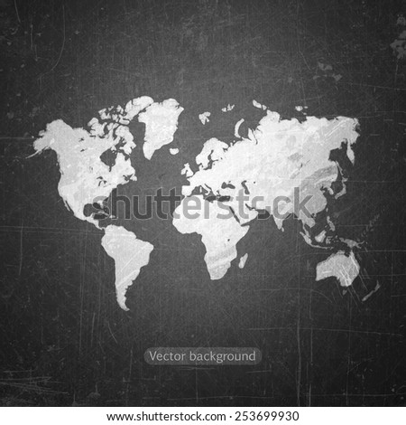 school sketches world map on blackboard, vector background - stock vector